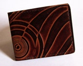 Men's Leather Wallet - Thin Bi-fold with Art Deco Design