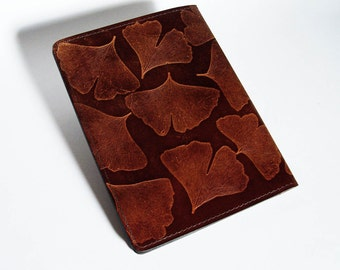 Leather Notebook Cover with Ginkgo Leaf Design - Fits 5x8 Inch Notepad (Small Legal Pad)