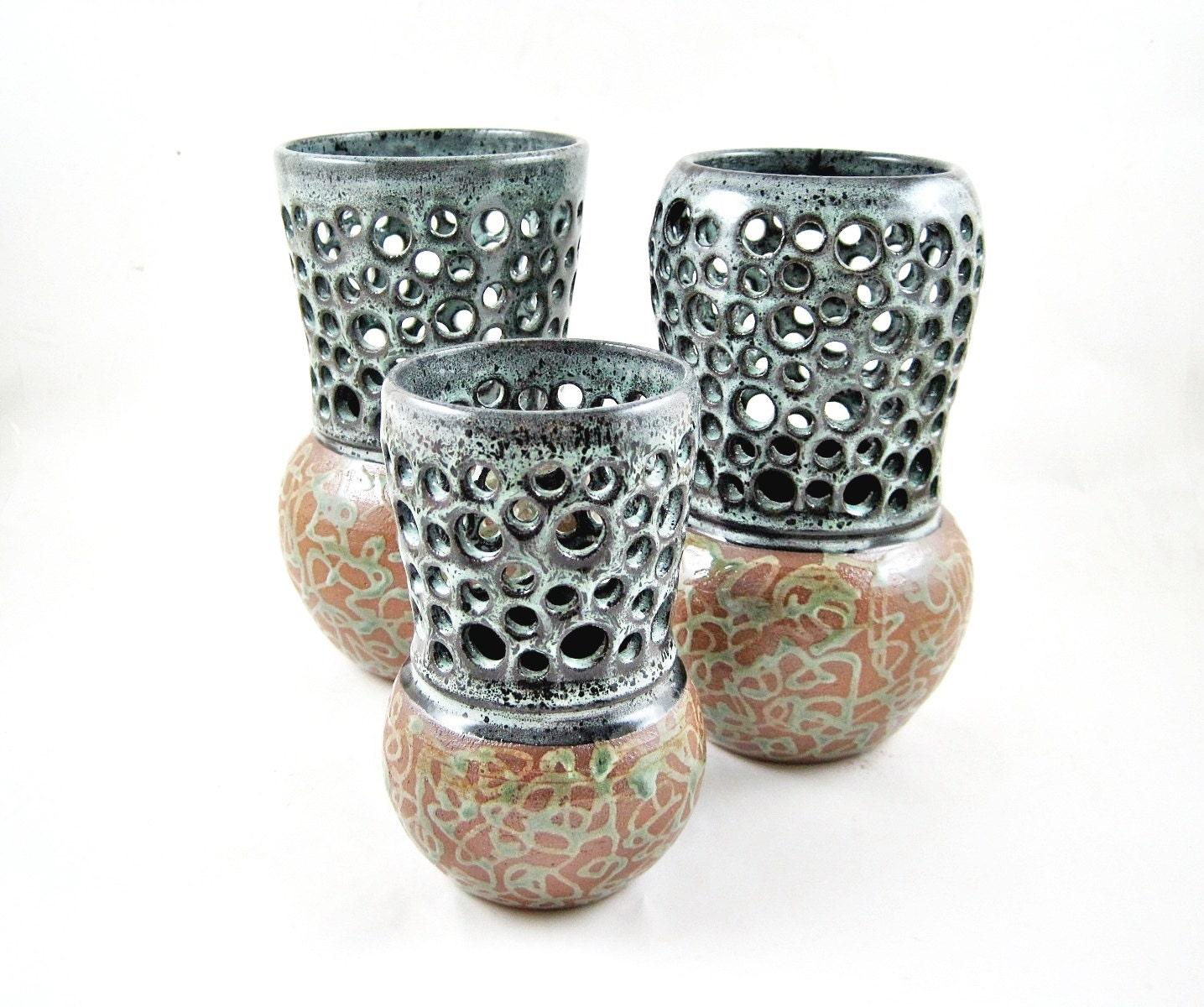 Set of 3 handmade pottery vases bud vase home decor modern for Modern home decor vases