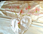 Antique Rare Silk Satin Embroidered Bedspread Trousseau Set, pink chenille, heart pillow, doilies