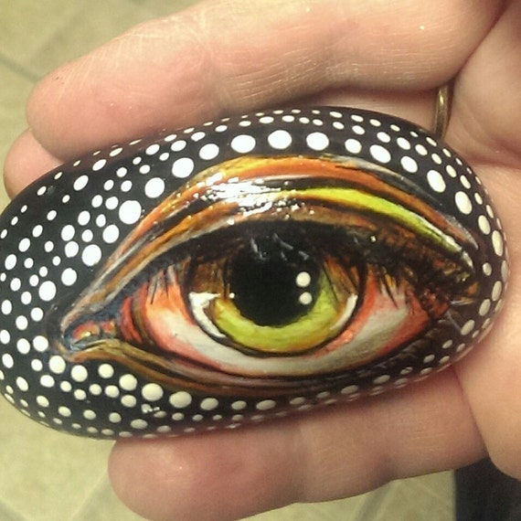 Eyeball rock painting