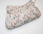 Wristlet Wallet with strap, Phone Case, Small Wallet, Wristlet Bag , Zippered Clutch Pouch Feathers Handmade Purse