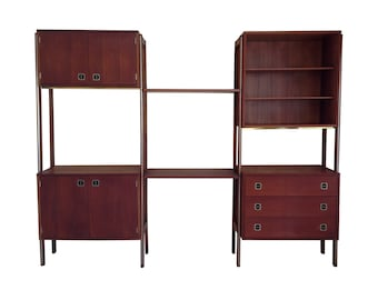Free Shipping Modular Room Divider Shelving Bookcase Record Cabinet Vintage Mid Century Modern
