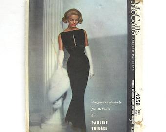 Pauline Trigère Dress Pattern / Women's Sewing Pattern / McCalls 4258 / Vintage 50s Sexy Bombshell Evening Dress / UNCUT FF / Size 12