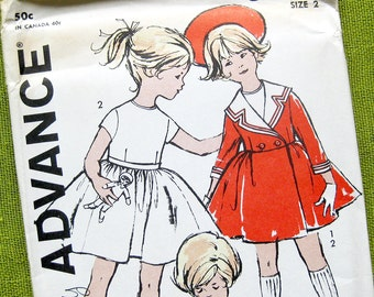 1960s Girls Vintage Dress and Coat Sewing Pattern / Advance 9872 / Madeline Style Double Breasted Coat  // UNCUT FF