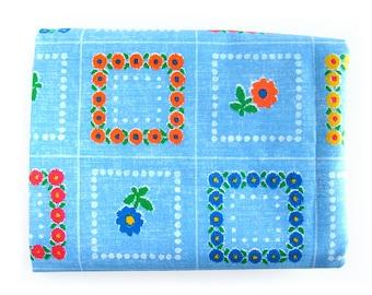1960s Vintage Cotton Fabric Orange and Light Blue Floral Geometric Print