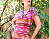 Women's Pink Knit Dress, Pink, Orange, White Candy Stripe, Jersey Knit, Summer Dress, Multi color, Striped, Women's Fashion, Australian