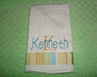 Kenneth Personalized Burp Cloth Baby Boy Gift New Mom Gift Premium Quality Boutique Style 6-Ply Burp Cloth- Name or up to 3 Initials