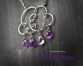 Purple Rain - Sterling Silver Cloud with Amethyst Briolettes - Prince Tribute