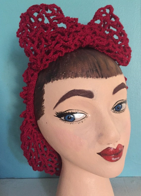 1940s Hairstyles- History of Women's Hairstyles Hair Snood and Bow Crocheted from Vintage 1942 Pattern Retro Pinup $40.00 AT vintagedancer.com