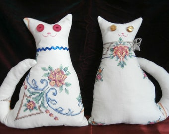 VINTAGE LINEN CAT Ooak Cat Pillow Made from a Vintage Cross Stitch Table Cover