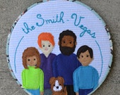 Custom Family Portrait, embroidered appliqué hoop art personalized family portrait, up to 5 family members and 3 pets