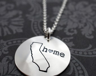 Graduation Jewelry - California State Necklace - Home Is Where Your Heart Is Collection - Custom Home State Necklace by EWDJewelry