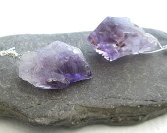 Purple Amethyst Earrings, Uncut Crystal Birthstone Jewelry, Raw Quartz Earrings