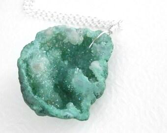 Raw Geode Druzy Pendant, Green Drusy Necklace, Aqua Stone Jewelry