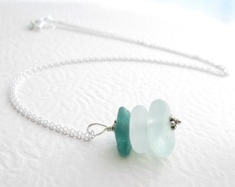 Teal Sea Glass Necklace, Green Ombre Pendant, Eco Friendly Jewelry