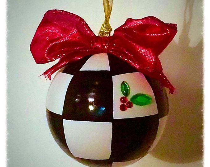 Christmas Tree Ornament // Checkered Ornament // Whimsical Painted Ornament checks // Black and White Ornament