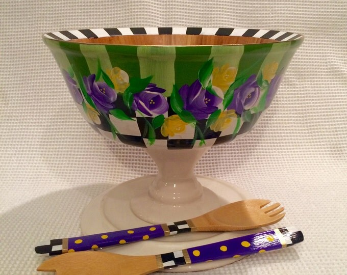Painted Bowl // Painted Wood Bowl // salad bowl set