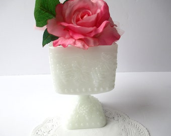 Vintage Milk Glass Grapevine Footed Planter/Vase - Cottage Chic