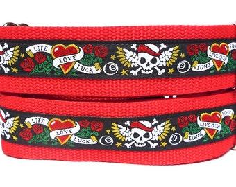 "Love Skulls martingale dog collar, red and black skulls, 1.5"" wide, Safety Collar, Greyhound Collar, Sighthound Collar, Adjustable"