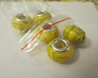 5 Yellow Veined Euro Beads Craft Supplies