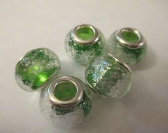 5 Green Glass Euro Beads Craft Supplies