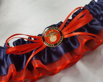 USA Marine Bride Wedding Garter Red Navy Blue for Military Brides Bridal Garter