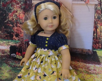 Autumn Robin - vintage style dress for American Girl doll
