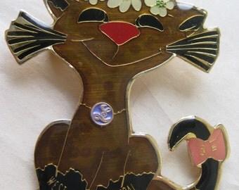 Cat Kitten West Allis Central Pin Vintage Brooch Brown Gold