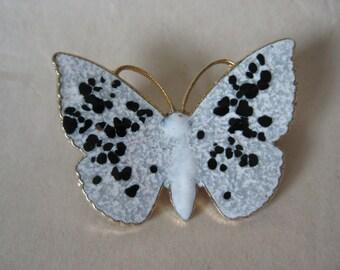 Butterfly White Black Brooch Gold Enamel Vintage Pin