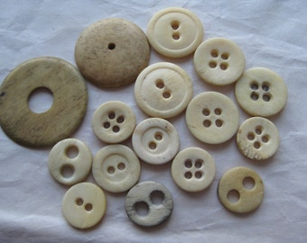 Bone Buttons Vintage Off White Tan 15