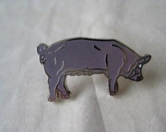 Pig Lapel Pin Brooch Vintage Purple Silver Enamel Farm Animal