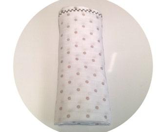 Baby dots swaddle blanket - polka dot baby blanket - nursery blanket - stroller blanket - baby boy girl blanket - embroidered baby blanket