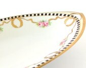 Vintage Noritake Pink Roses and Gold Ribbons Celery Dish,  Nippon, Blue Mark
