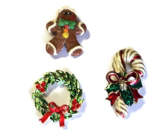 Christmas Magnet Set, Wreath Candy Cane Gingerbread Man, Upcycled Vintage Brooches, Handmade, Home Decor, Kitchen Decor