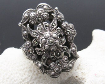 Sterling Marcasite Ring Art Deco Period Jewelry R7392