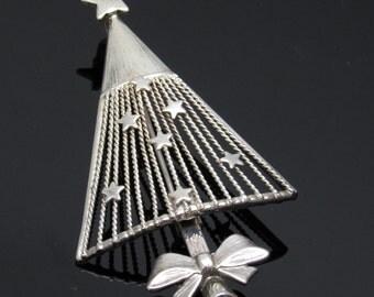 Large Christmas Tree Pendant Brooch Vintage Holiday Jewelry P7484
