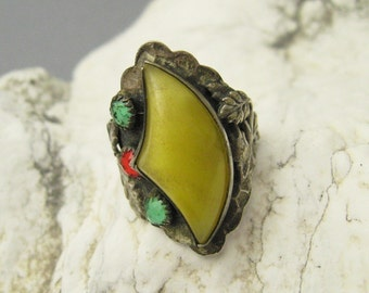Antique Sterling Ring Arts and Crafts Nouveau Jewelry R7018