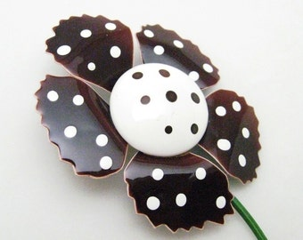 Big Flower Brooch Brown Polka Dot Mid Century Jewelry P7127