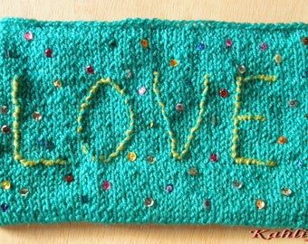 Turquoise Vegan friendly Fun LOVE Pouch,Purse, Clutch