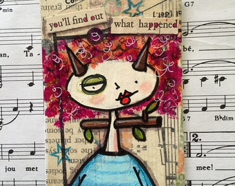 Original mixed media found poetry ACEO / ATC pink hair horn lady