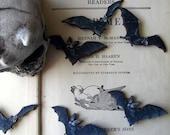 Black Bat Brooch Set - Halloween Vampire Bat - Vintage Illustations - Unisex Pins - Under 15
