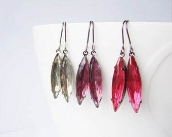 Long Tall Sally Earrings in Vintage Glass - One pair of Navette Earrings - Pick your colour