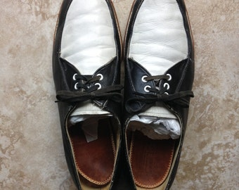 50's mens black and white Brunswick Bowling Shoes US size 9 1/2