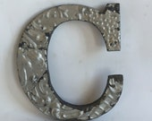 "Tin Ceiling Wrapped 8"" Patchwork Reclaimed Metal Silver Letter ""C"" Mosaic Wall Hanging 26106-16i"