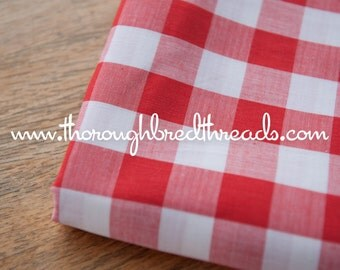 Amazing Red Gingham- Vintage Fabric Juvenile Holiday Doll Making