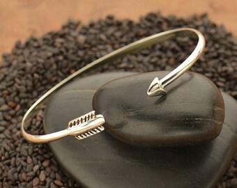 Sterling Silver Adjustable Arrow Bangle Bracelet - Solid 925 - Insurance Included