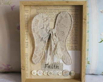 Wall art Angel wings buttons antique lace faith
