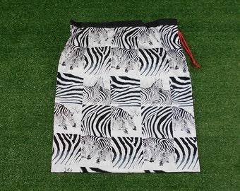 Zebras drawstring bag, large bag for library, toys, sheets, storage
