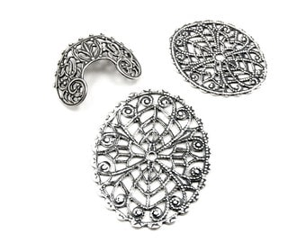 Art Nouveau / Bohemian Oval and Curved Lacey Filigree Bead Wraps for Jewelry Making - 3 Pieces - Antiqued Sterling Silver Plated Brass